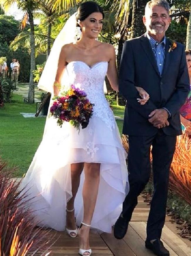 High Low Wedding Dress for Outdoor Wedding,Destination Tiered Wedding Dress,12059