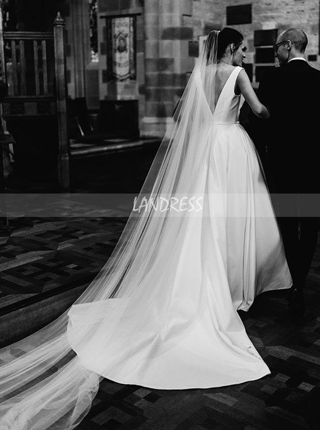 A-line Wedding Dress with Slit,Satin Wedding Dress with Pockets,12061