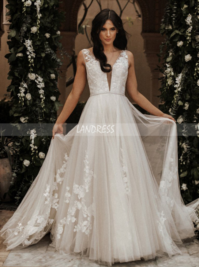 Romantic Wedding Dresses,Tulle Wedding Dress with Appliques,12062