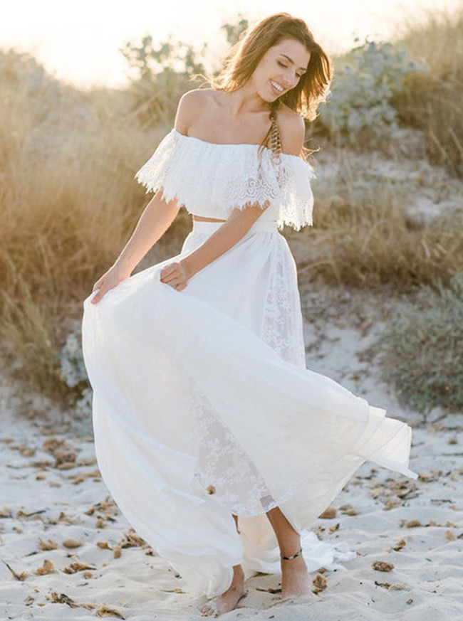 Boho Two Piece Wedding Dresses,Off the Shoulder Beach Wedding Dress,12063
