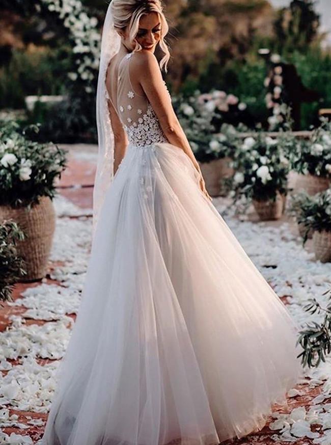 Boho A-line Wedding Dress,Romantic Wedding Dress,12064