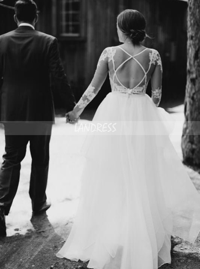Sheath Wedding Dress with Detachable Tulle Skirt,Long Sleeves Wedding Dress,12065