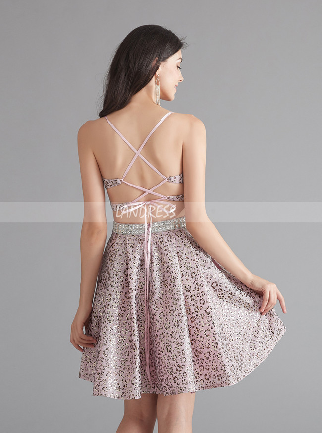 Spaghetti Straps Homecoming Dress,Open Back Homecoming Dress,12067