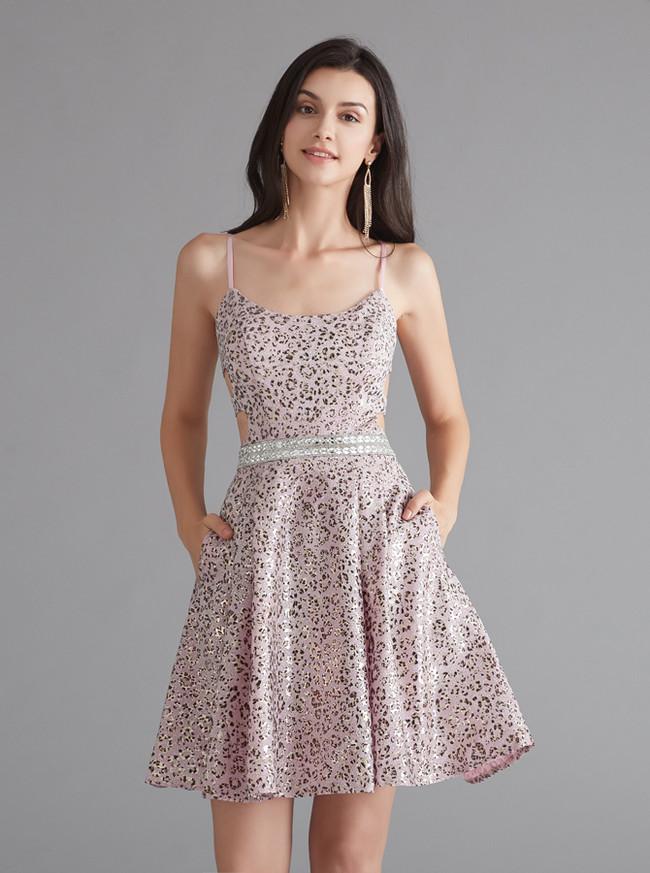 Spaghetti Straps Homecoming Dress,Open Back Homecoming Dress,12067