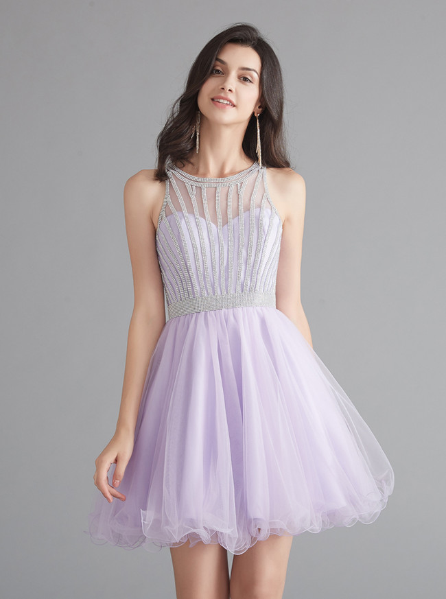 Lilac Homecoming Dresses,Tulle Sweet 16 Dress,12068