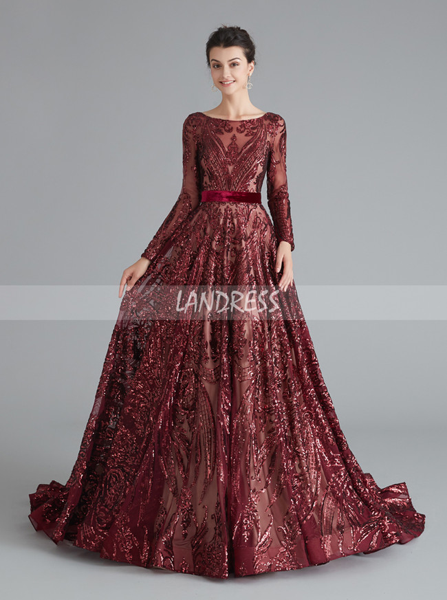 Sequined Prom Dress with Sleeves,A-line Chic Prom Dress,12069
