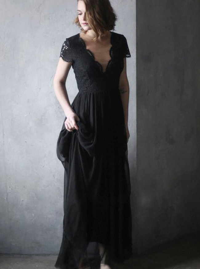 Black Wedding Dresses,Rustic Wedding Dress with Short Sleeves,12070