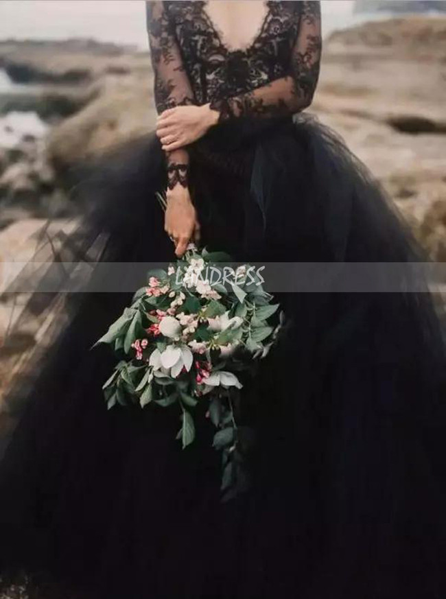 Black Wedding Dresses with Long Sleeves,Tulle Wedding Dress,12071