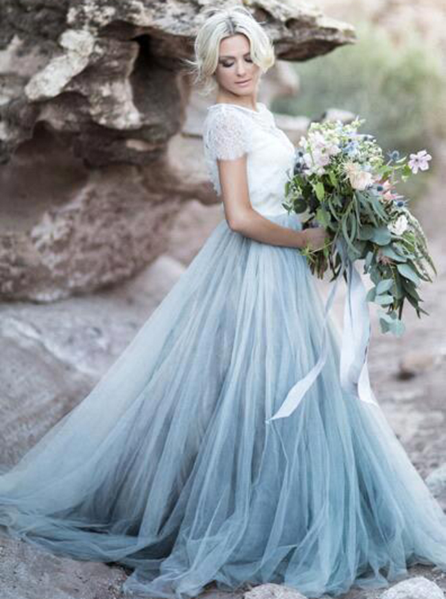 Dusty Blue Wedding Dresses,Rustic Wedding Dresses,12073