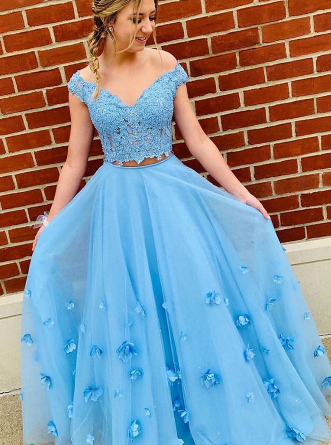 Blue Two Piece Prom Dresses,Tulle Prom Dress,12074