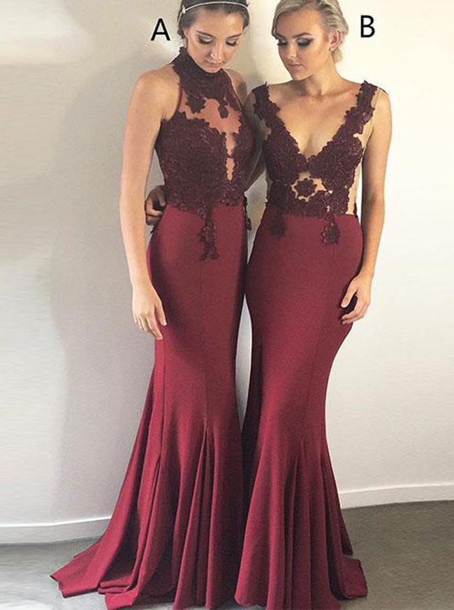 Burgundy Mermaid Prom Dresses,High Neck Evening Dress,12075