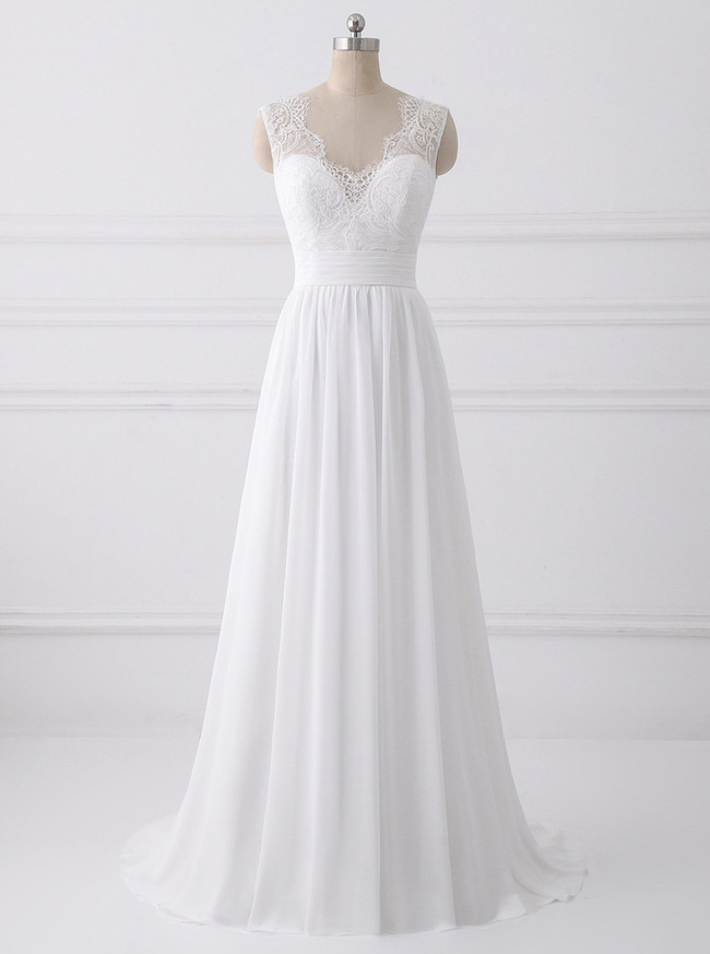 Boho Wedding Dress With Sleeves Long Tulle Bridal Dress White