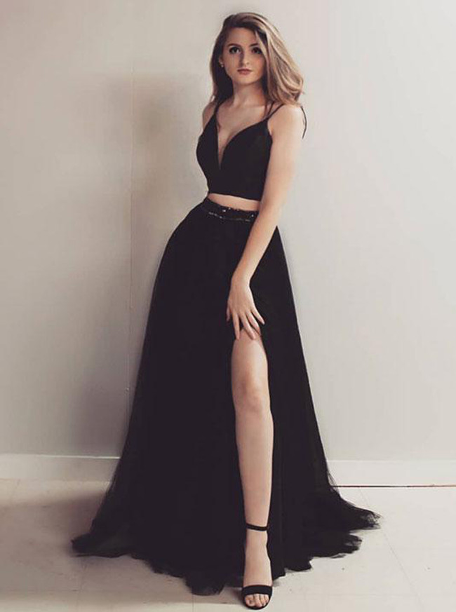 Black Two Piece Prom Dresses,Tulle Prom Dress with Slit,12080