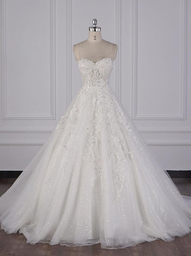 A-line Strapless Wedding Dresses,Sparkly Wedding Dress,12081