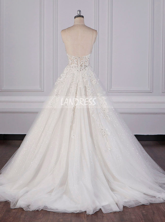 A-line Strapless Wedding Dresses,Sparkly Wedding Dress,12081