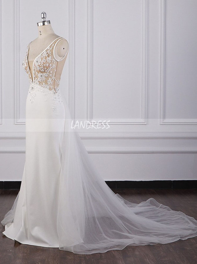 A-line Illusion Wedding Dress,Garden Bridal Dress with Tulle Train,12082
