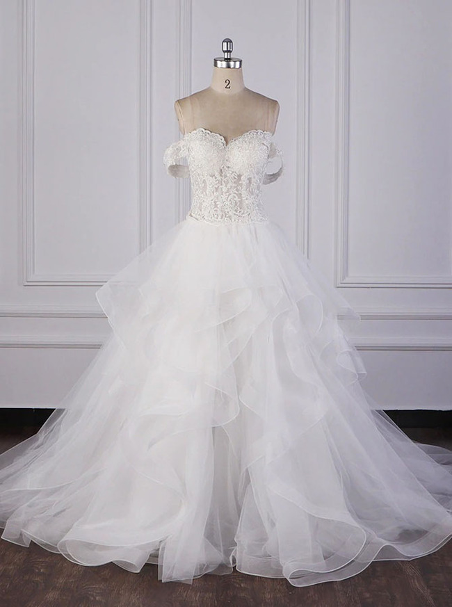 Princess Wedding Gown with Ruffled Skirt,Off the Shoulder Bridal Dress,12083