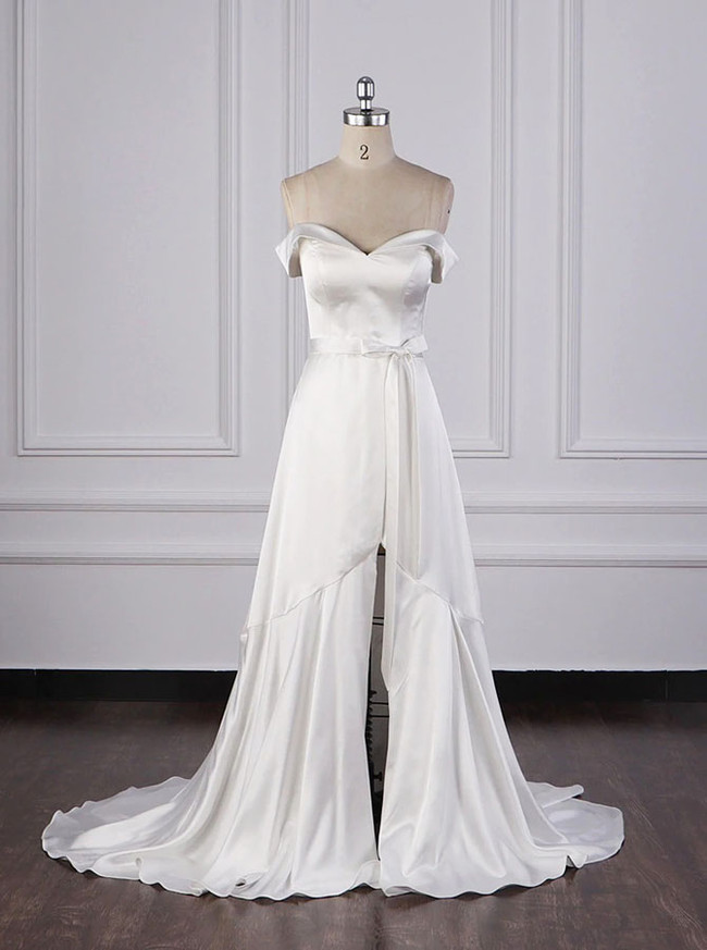 Satin Simple Bridal Dress,Off the Shoulder Wedding Dress with Slit,12084