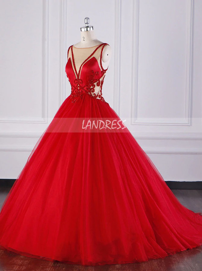 Red Wedding Gown,Tulle Ball Gown Wedding Dress with Illusion Neck,12085