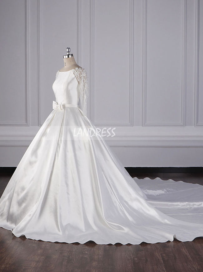 Satin Ball Gown Wedding Dress with Sleeves,Long Train Bridal Gown,12086