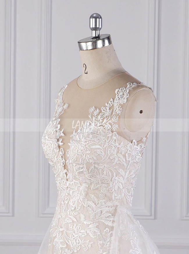 Sheath Wedding Dress with Detachable Train,Lace Wedding Dress,12087