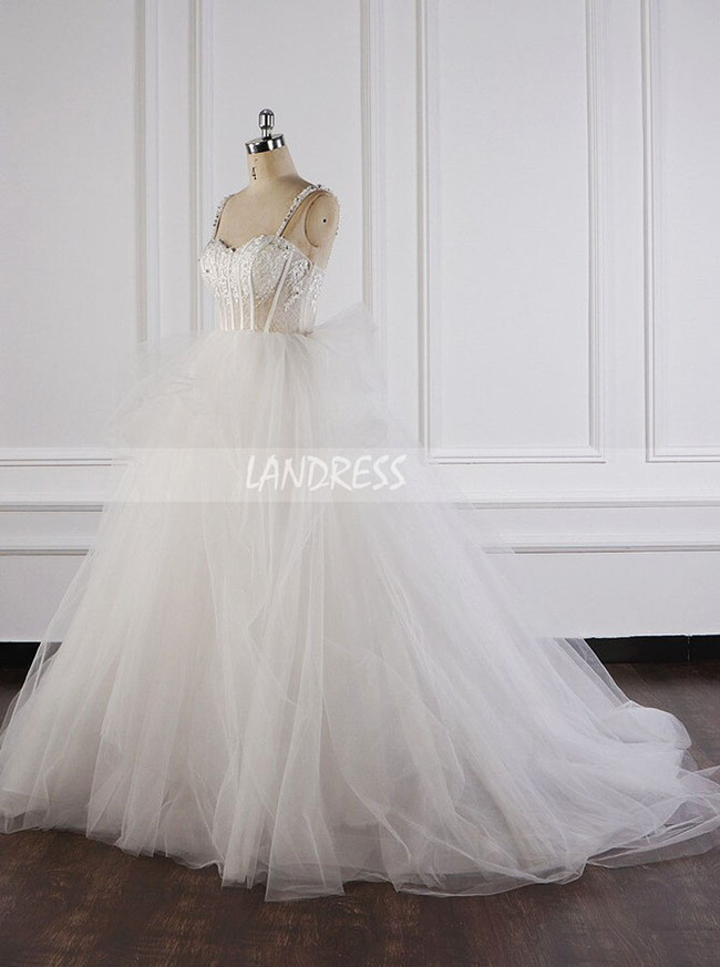 Tulle Ball Gown Wedding Dress,Illusion Bridal Gown,12088