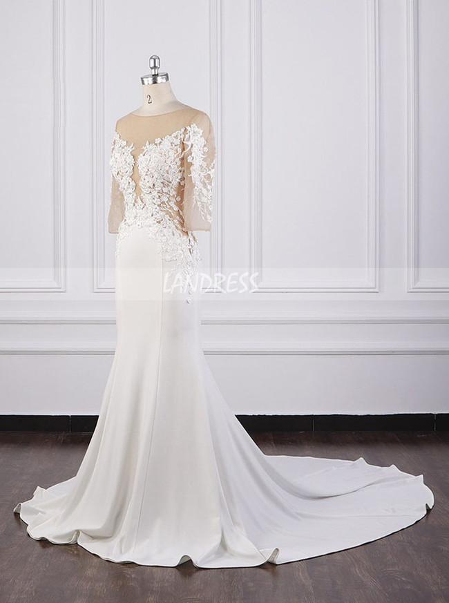 Mermaid Wedding Dresses with Sleeves,Satin Bridal Dress,12089