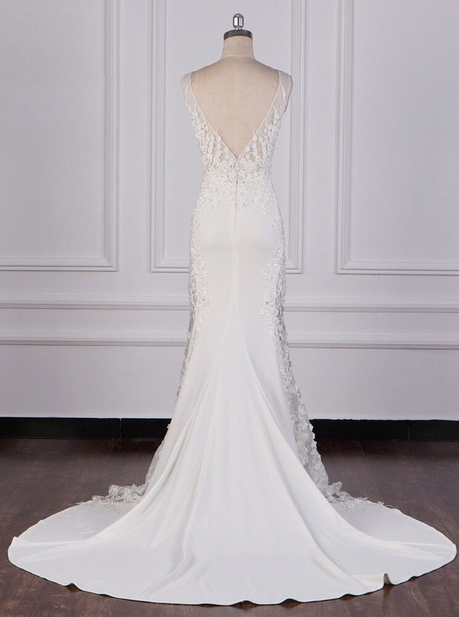 Luxurious Mermaid Wedding Dress,Illusion Wedding Dress,12090