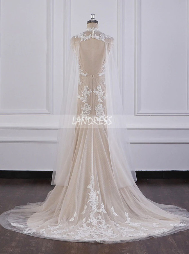 Champagne Mermaid Wedding Dress,Tulle Bridal Dress with Shawl,12091