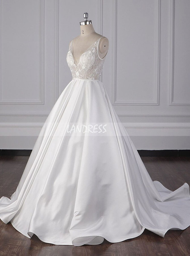 A-line Satin Wedding Dresses,Illusion High Quality Wedding Gown,12092