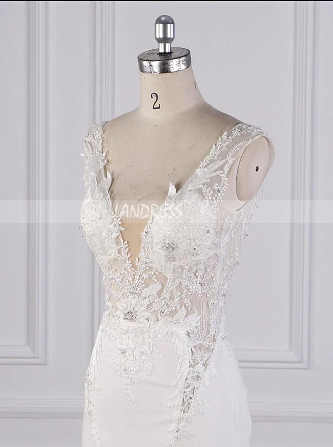 Mermaid Wedding Dress with Cutout Back,High Quality Bridal Dress,12093