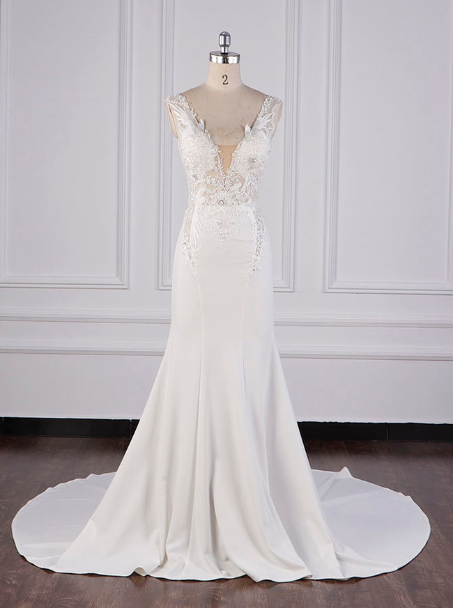 Mermaid Wedding Dress with Cutout Back,High Quality Bridal Dress,12093