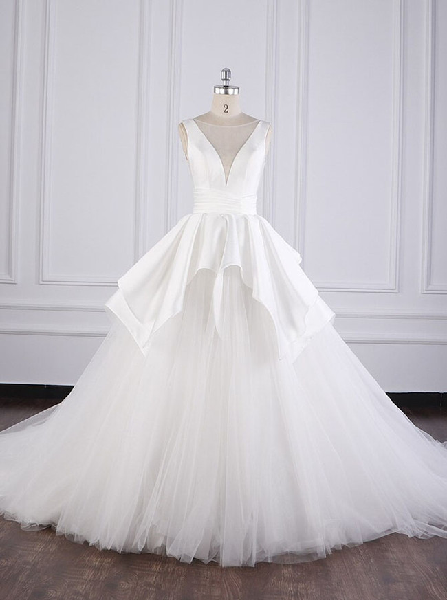 Simple A-line Wedding Gown,Satin Tulle Bridal Dress,12094
