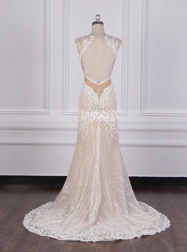 Champagne Wedding Dresses,Sparkling Wedding Dress Open Back,12095