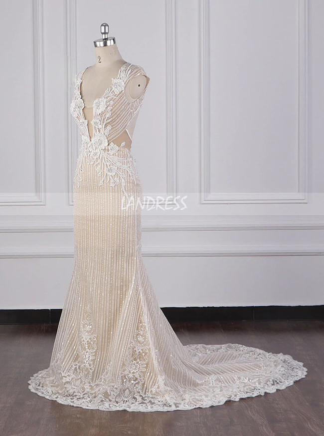 Champagne Wedding Dresses,Sparkling Wedding Dress Open Back,12095