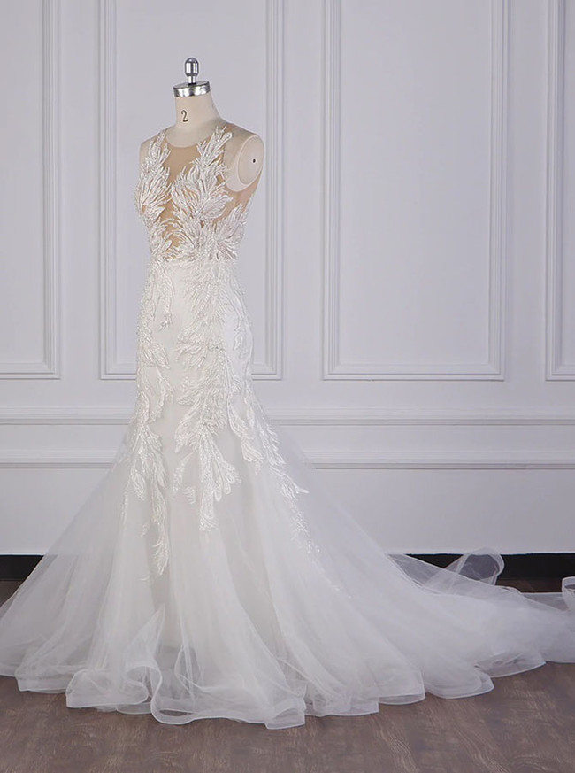 White Open Back Wedding Dresses,Luxurious Bridal Gown,12096