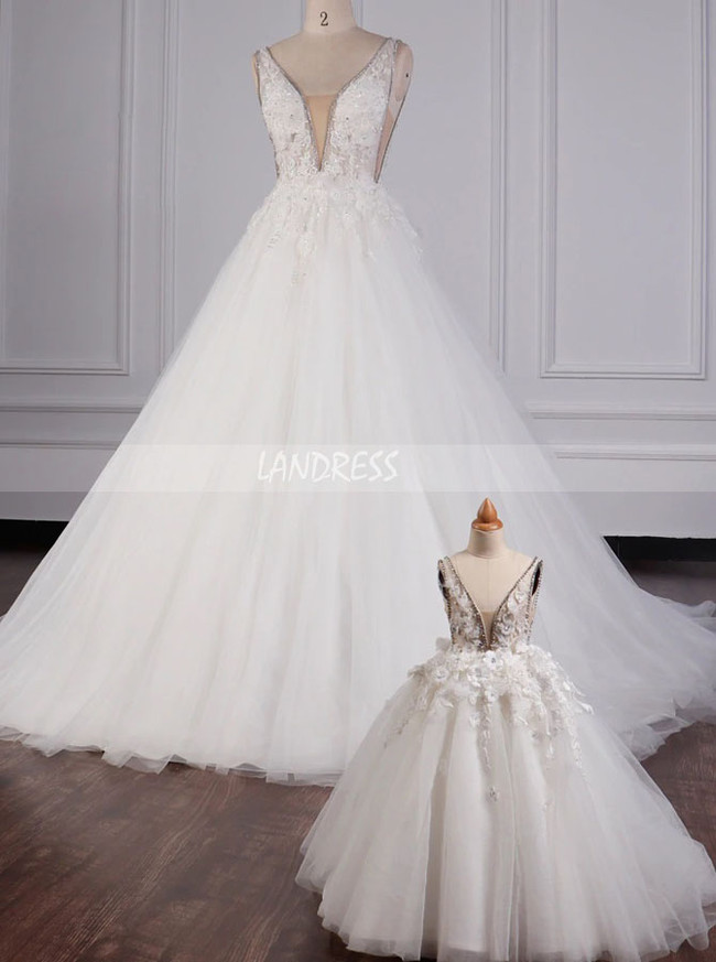 Princess Wedding Dress,V-cut Back Wedding Dress,12097