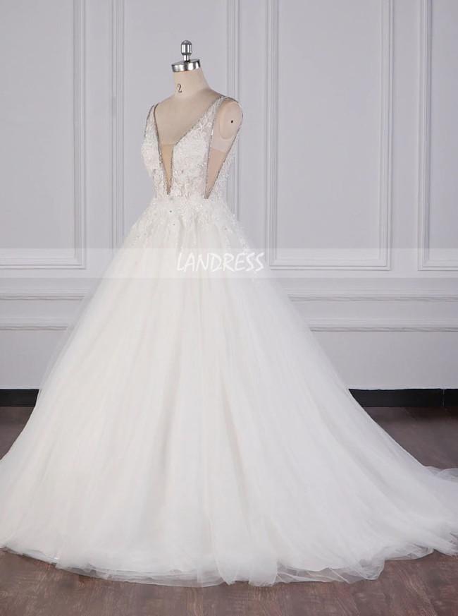 Princess Wedding Dress,V-cut Back Wedding Dress,12097