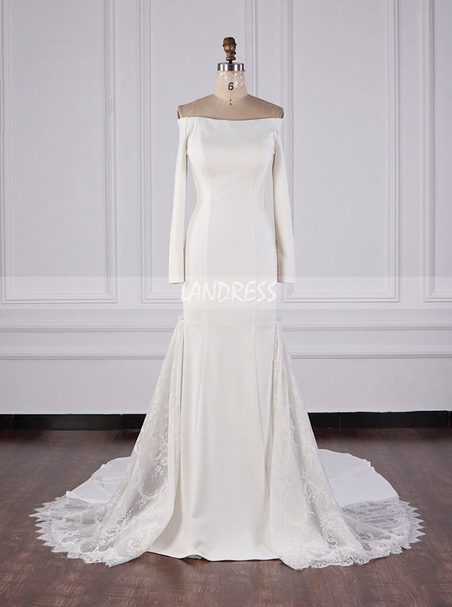 Modern Wedding Dresses With Sleeves,Off the Shoulder Bridal Dress,12098