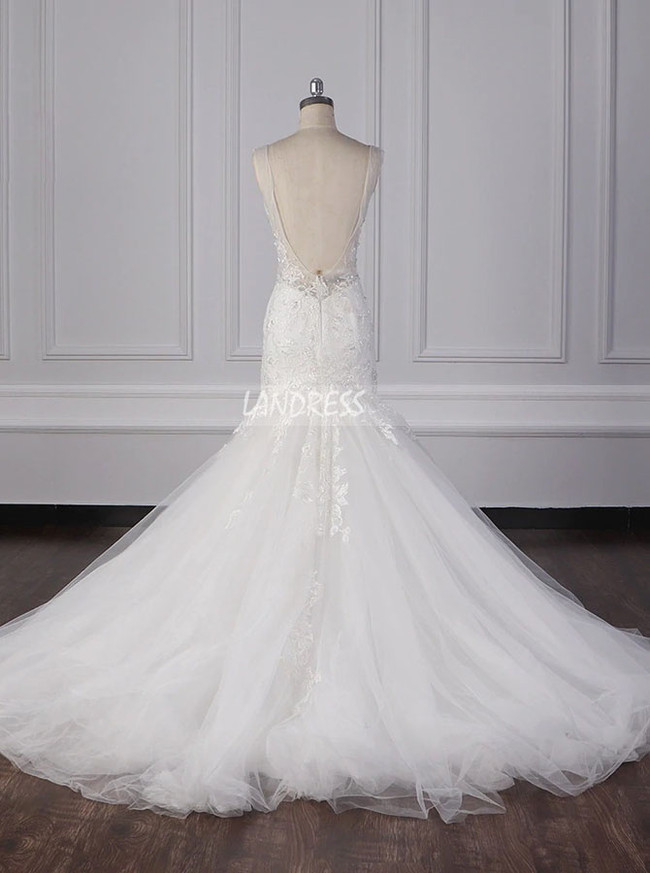 Elegant Wedding Dresses,Open Back Tulle Bridal Gown,12099