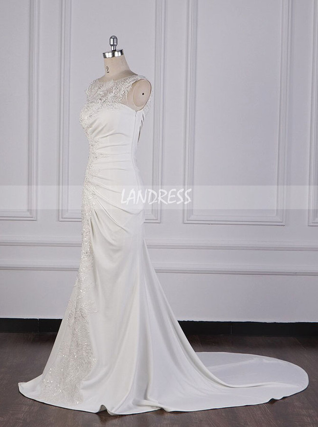 Fit And Flare Pleated Wedding Dresses,Satin Open Back Bridal Dress,12100