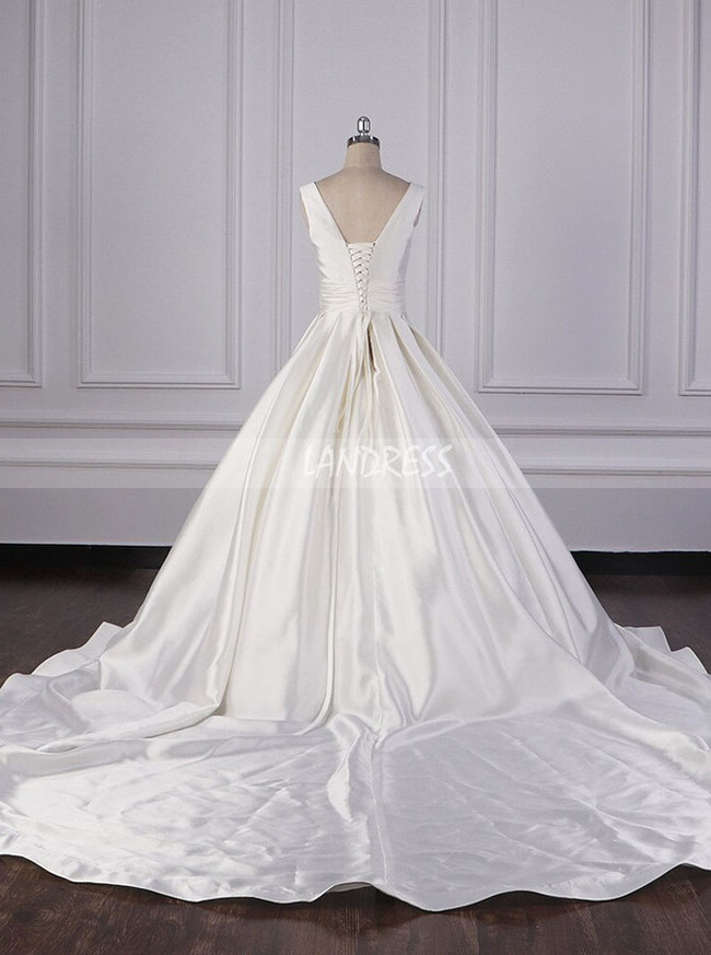 Satin A-line Wedding Dresses,Simple Bridal Gown with Lace Up Back,12101