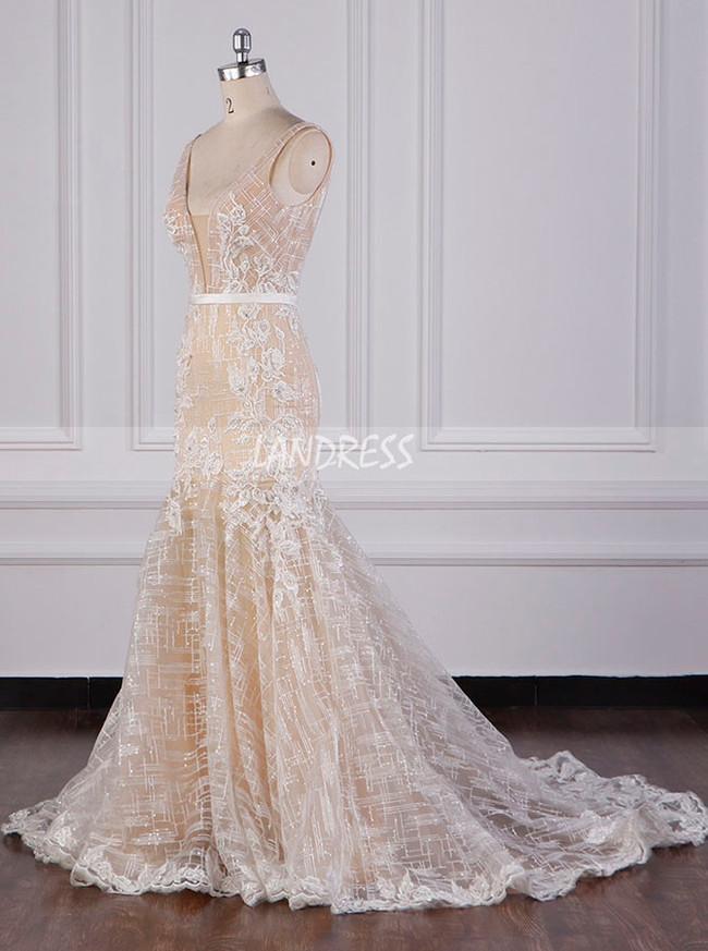 Champagne Wedding Dresses,Sparkly Mermaid Bridal Dress,12102