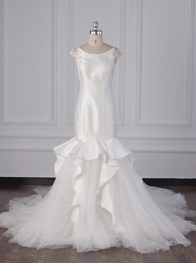 Unique Wedding Dresses,Mermaid Satin Tulle Bridal Dress,12103