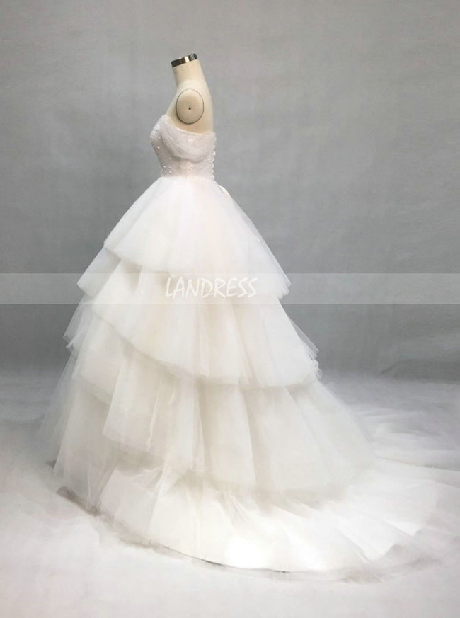 Princess Wedding Dress With Cap Sleeves,Ruffled Tulle Bridal Gown,12105