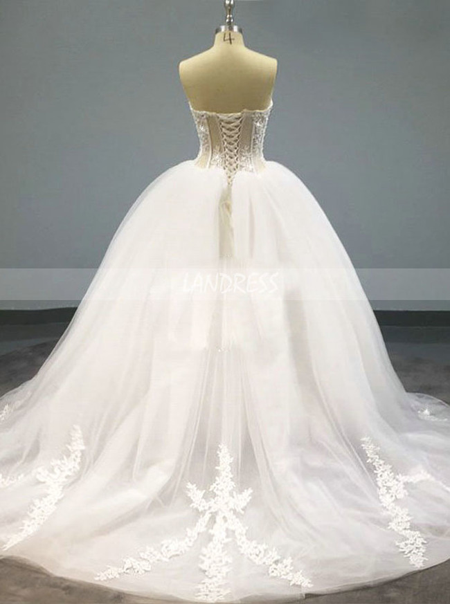 Strapless Ball Gown Wedding Dress,Illusion Wedding Dress,12106