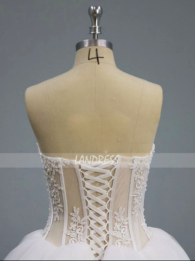 Strapless Ball Gown Wedding Dress,Illusion Wedding Dress,12106
