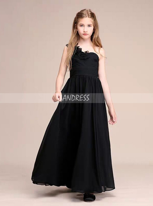 A-Line/Princess One Shoulder Floor-Length Chiffon Junior Bridesmaid Dress With Flowers,12108