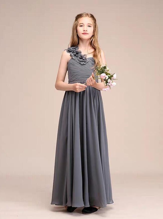 A-Line/Princess One Shoulder Floor-Length Chiffon Junior Bridesmaid Dress With Flowers,12108