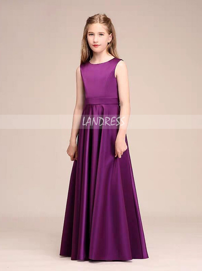 A-Line Scoop Neck Floor-Length Satin Junior Bridesmaid Dress,12109